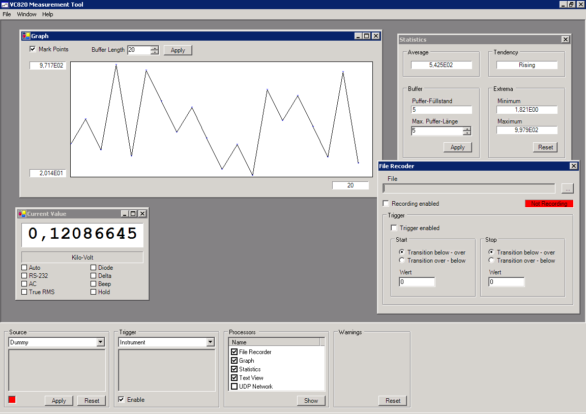 Screenshot of the VC820 software