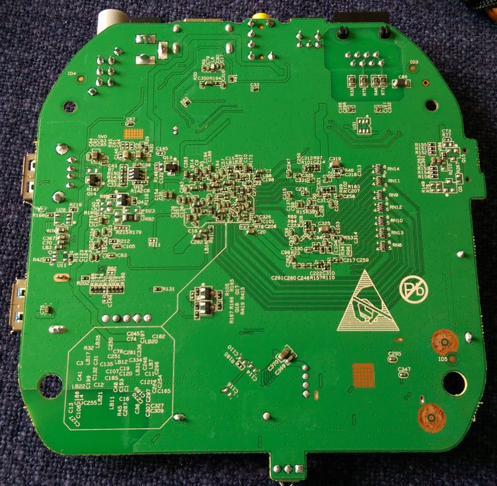 Bottom view of the PCB.