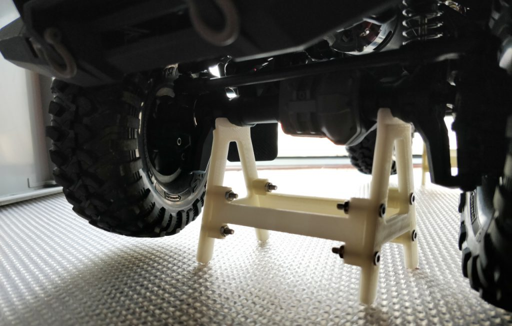 The tires are above ground to prevent flat spots.